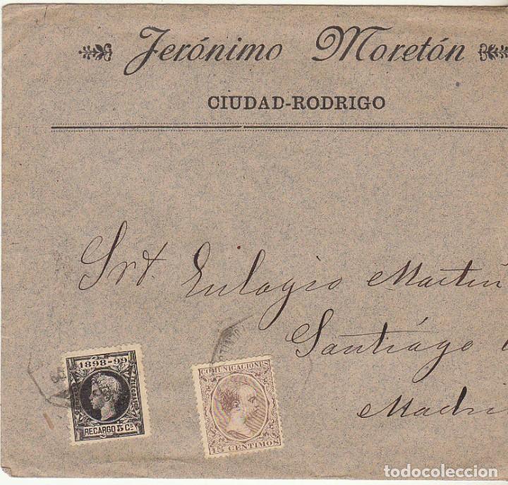 SOBRE : SELLOS 219 Y 240. CIUDAD RODRIGO A MADRID. 1899. (Sellos - España - Alfonso XIII de 1.886 a 1.931 - Cartas)