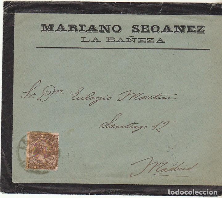 SOBRE DE LUTO : SELLO 219. LA BAÑEZA A MADRID. 1900. (Sellos - España - Alfonso XIII de 1.886 a 1.931 - Cartas)