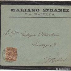 Sellos: SOBRE DE LUTO : SELLO 219. LA BAÑEZA A MADRID. 1900.. Lote 76939009