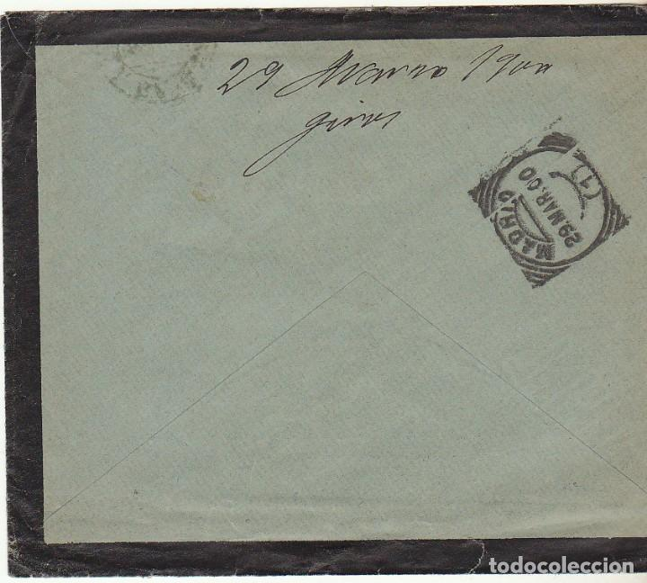 Sellos: SOBRE DE LUTO : Sello 219. LA BAÑEZA a MADRID. 1900. - Foto 2 - 76939009
