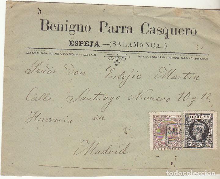 SOBRE : SELLOS 219 Y 240. ESPEJA-SALAMANCA A MADRID. 1898. (Sellos - España - Alfonso XIII de 1.886 a 1.931 - Cartas)