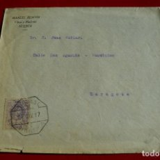 Sellos: CARTA MATASELLO AMBULANTE JACA TARDIENTA COP? ZARAGOZA HISTORIA POSTAL SELLO VAQUER. Lote 77609757