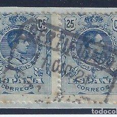 Sellos: EDIFIL 274 ALFONSO XIII. TIPO MEDALLÓN 1909-1922. PAREJA CON MATASELLOS DEL 11-DICIEMBRE-1921.. Lote 140967160