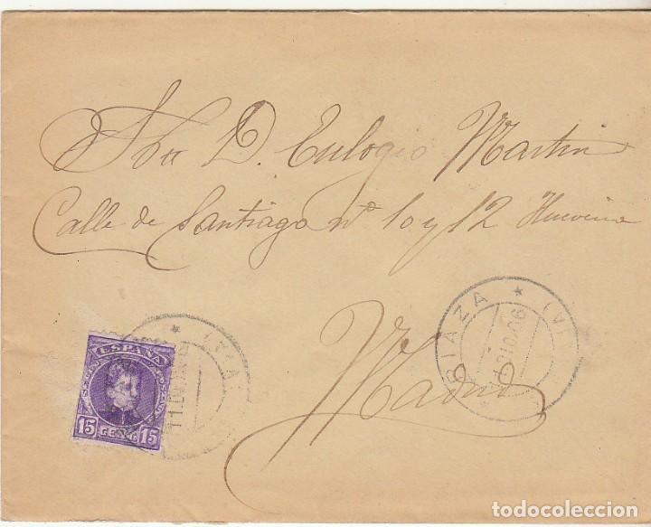 SOBRE : SELLO 246. RIAZA-SEGOVIA A MADRID. 1906. (Sellos - España - Alfonso XIII de 1.886 a 1.931 - Cartas)