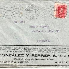 Sellos: SOBRE COMERCIAL ALBACETE DE BICICLETAS GONZALEZ FERRER -----VER DORSO-----. Lote 79790353