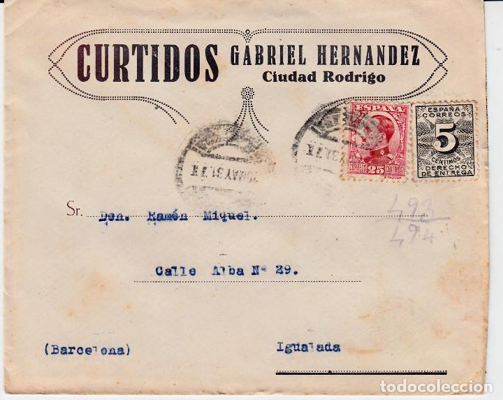SOBRE COMERCIAL CIUDAD RODRIGO -SALAMANCA- DE CURTIDOS GABRIEL HERNANDEZ (Sellos - España - Alfonso XIII de 1.886 a 1.931 - Cartas)