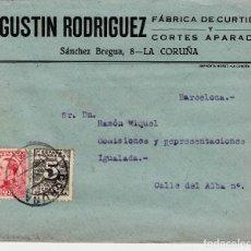 Sellos: SOBRE COMERCIAL LA CORUÑA DE FÁBRICA DE CURTIDOS AGUSTIN RODRIGUEZ. Lote 80000233
