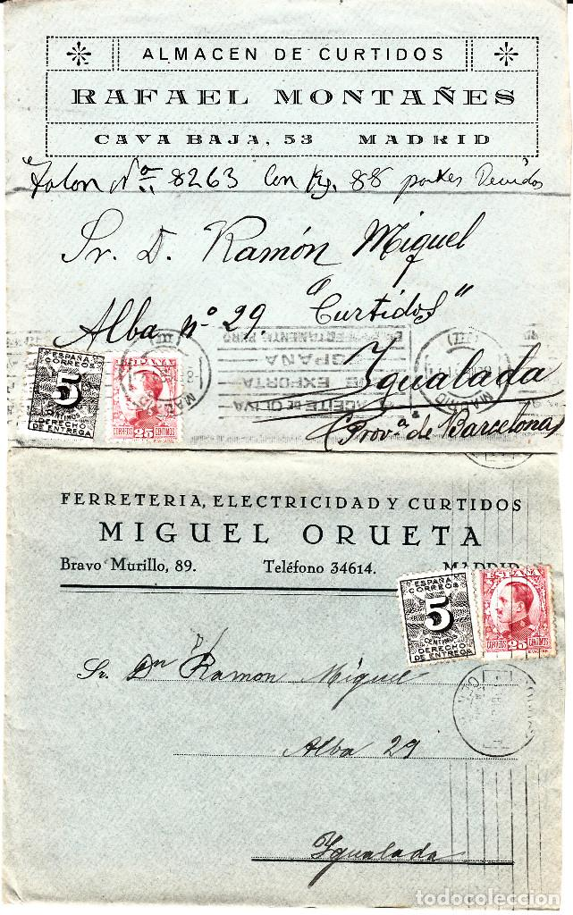 LOTE DE 5 SOBRES COMERCIALES DE ALMACENES DE CURTIDOS DE MADRID (Sellos - España - Alfonso XIII de 1.886 a 1.931 - Cartas)