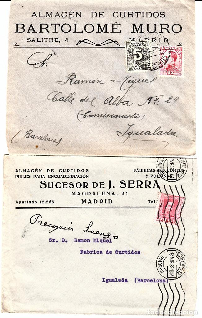 Sellos: LOTE DE 5 SOBRES COMERCIALES DE ALMACENES DE CURTIDOS DE MADRID - Foto 2 - 80026961