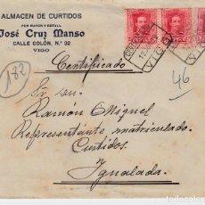 Sellos: SOBRE COMERCIAL VIGO DE CURTIDOS JOSÉ CRUZ MANSO CON MATASELLOS CERTIFICADO 1929 Y LLEGADA AL DORSO. Lote 80042621
