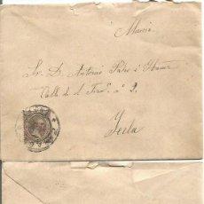 Sellos: ZARAGOZA A YECLA, MURCIA. ALFONSO XIII. PELÓN 15CTS. 2 DE NOVIEMBRE DE 1894.. Lote 80976816