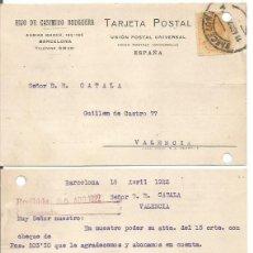Sellos: HIJO DE CASIMIRO BRUGUERA. ALFONSO XIII 15CTS MEDALLÓN. 19 DE ABRIL DE 1922.. Lote 80977200