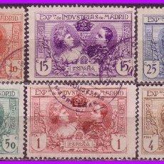Sellos: 1907 EXPOSICIÓN DE INDUSTRIAS DE MADRID, EDIFIL Nº SR1 A SR6 (O) . Lote 82333592