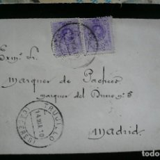 Sellos: CARTA COMPLETA. SOBRE Y CONTRATO. SELLOS DE ALFONSO XIII. 1910. AL MARQUÉS DE PACHECO.. Lote 84607720