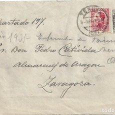 Sellos: CARTA MATASELLO FECHADOR TERUEL SELLO DERECHO DE ENTREGA 1931. Lote 85215428