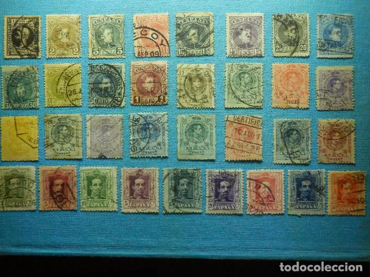 SELLO - ESPAÑA - CORREOS - LOTE DE 33 SELLOS ALFONSO XIII - TODOS DIFERENTES - (Sellos - España - Alfonso XIII de 1.886 a 1.931 - Usados)