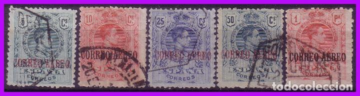 1920 ALFONSO XIII, AÉREOS EDIFIL Nº 292 A 296 (O) SERIE COMPLETA (Sellos - España - Alfonso XIII de 1.886 a 1.931 - Usados)