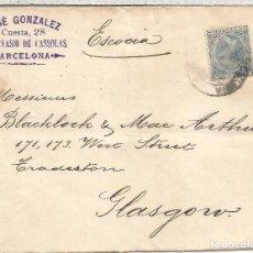 Sellos: BARCELONA 1891 CC A GLASGOW SELLO 25 CTS ALFONSO XIII PELON AL DORSO LLEGADA. Lote 90553835
