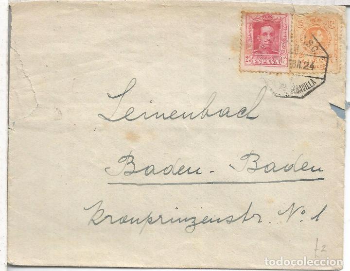 CC CON MAT AMBULANTE 1924 SELLOS ALFONSO XIII VAQUER MEDALLON (Sellos - España - Alfonso XIII de 1.886 a 1.931 - Cartas)