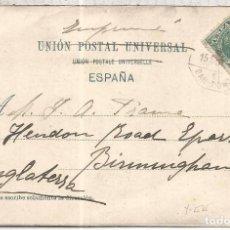 Sellos: TP DORSO SIN DIVIR CON MAT AMBULANTE FERROCARRIL BARCELONA PORT BOU ALFONSO XIII. Lote 94712251