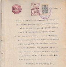 Sellos: 1925 ALCOY (ALICANTE) SELLO 10 PTS HACIENDA PROVINCIAL FISCAL 1º 100 PTS SERIE 1919-26 DOCUMENTO. Lote 94891931