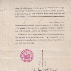 Sellos: 1930 RUBI COLEGIO NOTARIAL BARCELONA SELLO FISCAL LEGALIZACION 3 PTS HABILITADO VALE 3 PTS ESCRITURA. Lote 95864319