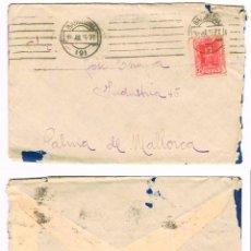 Sellos: CARTA CIRCULADA A PALMA DE MALLORCA EN JULIO DE 1925 CON RODILLO DE LLEGADA A PALMA. LLEVA LA CARTA. Lote 96092983