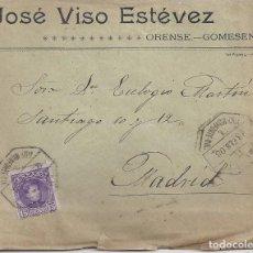 Sellos: CARTA MATASELLO AMBULANTE VIGO MONFORTE. ORENSE A MADRID 1908. Lote 96441403