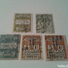 Sellos: SELLOS DE ALFONSO XIII 5 CENTIMOS SIN DENTAR AYUNTAMIENTO DE BARCELONA. Lote 98701586