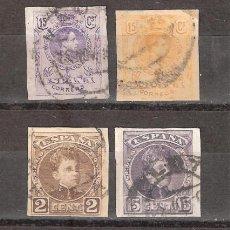 Sellos: LOTE ESPAÑA 1901 - 1909 4 VALORES SIN DENTAR DE ALFONSO XIII ALTO VALOR - SALIDA 1 EURO. Lote 97111163