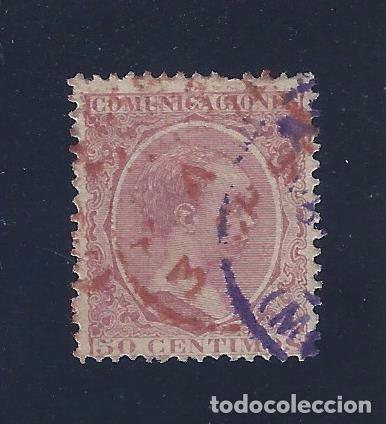 EDIFIL 224 ALFONSO XIII. TIPO PELÓN. 1889-1901. DOBLE MATASELLOS. FECHADOR 3-SEP-1891. LUJO. (Sellos - España - Alfonso XIII de 1.886 a 1.931 - Usados)