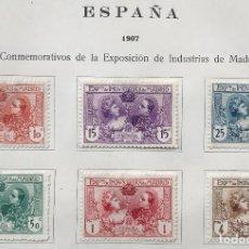 Sellos: 6 SELLOS DE ESPAÑA EXPOSICIÓN DE INDUSTRIAS DE MADRID 1907-NUEVOS SEÑAL FIJASELLOS.SERIE COMPLETA. Lote 99289423