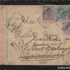 Sellos: CARTA AÑO 1921 CERTIFICADA JEREZ (CÁDIZ ) / EE.UU MATASELLO DE TRÁNSITO Y ORIGEN FRANQUEO MEDALLON.. Lote 100631127