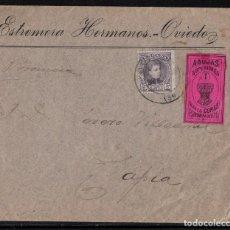 Sellos: CARTA DE ESTREMA HERMANOS - OVIEDO CON VIÑETA AGUJAS SUPERIORES. Lote 101092403