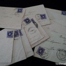 Sellos: 14 CARTAS CON SELLOS DE ALFONSO XIII CADETE 15 CTMS VIOLETA 1907 SELVA DEL CAMPO Y REUS NOTARIA. Lote 101182279