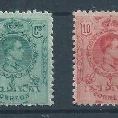 Sellos: R22/ ESPAÑA EDIFIL 267/9 Y 277, MH*, 1909-22, (CHARNELA). Lote 101197347