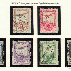 Sellos: SPAIN. XI CONGRESO FERROCARRILES (AEREO). EDIFIL 483-488 (1930). SERIE COMPLETA USADA.. Lote 103224371