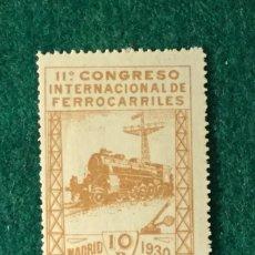 Sellos: AÑO 1930. XI CONGRESO INTERNACIONAL DE FERROCARRILES. Nº 481. Lote 103244607