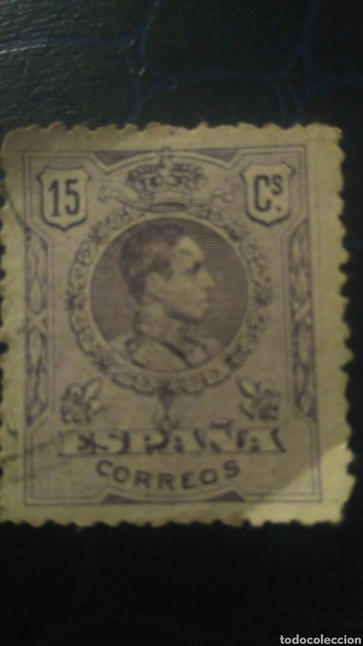 SELLO ALFONSO XIII. MEDALLÓN. 15 CÉNTIMOS. VIOLETA (Sellos - España - Alfonso XIII de 1.886 a 1.931 - Usados)