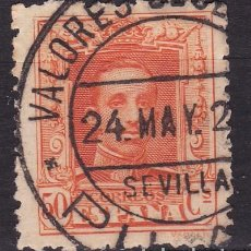 Sellos: CL5-4-ALFONSO XIII VAQUER USADO VALORES DECLARADOS PILAS SEVILLA. Lote 104302191