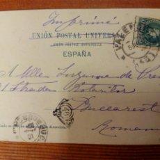 Sellos: - POSTAL DE VALENCIA A RUMANIA COMO IMPRESOS. 5/07/ 1901. TORRE DEL MIGUELETE. HAUSER Y MENET. Lote 105038488