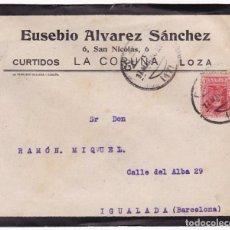 Sellos: F22-9-CARTA LUTO PUBLICITARIA CURTIDOS E.ALVAREZ LA CORUÑA.1926 DORSO POLVOS SOLSAL LIMPIEZA METAL. Lote 105109567
