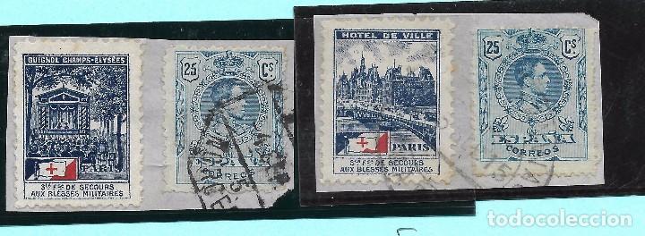 ESPAÑA. 2 SELLOS DE 25 CTS DE ALFONSO XIII CON VIÑETAS FRANCESAS (Sellos - España - Alfonso XIII de 1.886 a 1.931 - Usados)