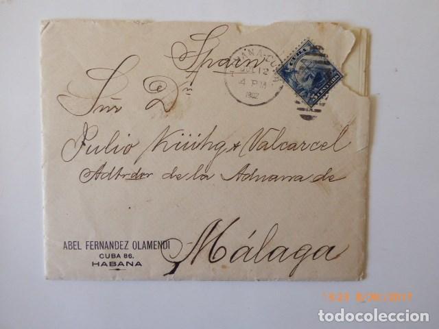CARTA DE CUBA A MALAGA, CIRCULADA D, JULIO KUHG, ADMINISTRADOR DE LA ADUANA, 1902, (Sellos - España - Alfonso XIII de 1.886 a 1.931 - Cartas)