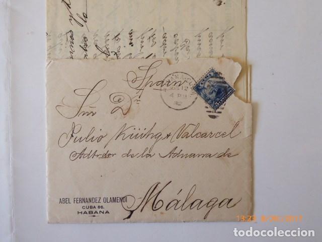 Sellos: carta de cuba a malaga, circulada d, julio kuhg, administrador de la aduana, 1902, - Foto 2 - 109140183