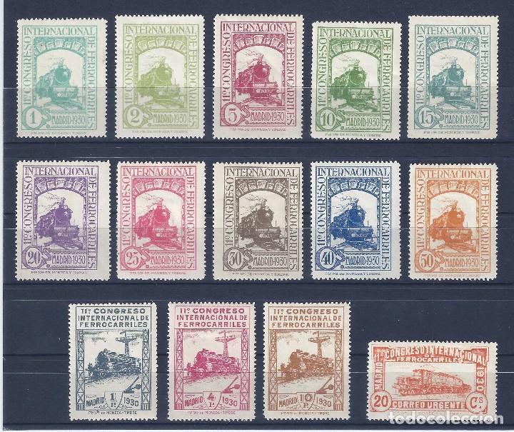 EDIFIL 469-482 CONGRESO INTERNACIONAL DE FERROCARRILES 1930 (SERIE COMPLETA). CERTIFICADO CMF. MH * (Sellos - España - Alfonso XIII de 1.886 a 1.931 - Nuevos)