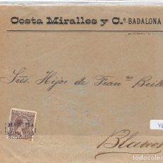 Sellos: ESPAÑA. Nº 219. CARTA DE BADALONA A BLANES. CARTERÍA BARCELONA/BADALONA. Lote 110194951
