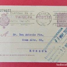 Sellos: TARJETA ENTERO POSTAL -DE MADRID, GACETA MUNICH, A HUESCA , ANTONIO PIÉ - ALFONSO XIII.. R-8285. Lote 111433471