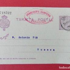 Sellos: TARJETA ENTERO POSTAL- DE ZARAGOZA, FRANCISCO SAMPERIO, A HUESCA,ANTONIO PIÉ - ALFONSO XIII.. R-8288. Lote 111434035