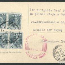 Sellos: ESPAÑA PRIMER VIAJE GRAF ZEPPELIN A SUDAMERICA SEVILLA 19 DE MAYO - PERNAMBUCO 23 DE MAYO DE 1930. Lote 111481063